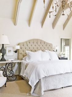 designer eleanor cummings incorporated clever architectural details and a quiet color scheme to create this tranquil master bedroom. (houston)