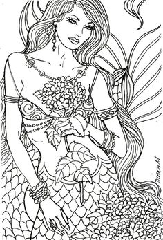 mermaid colouring page for adults