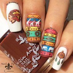 Nails by Cassis: Colourful Tribal Mani #nails #nailart #nailstamping #harunouta #bornprettystore