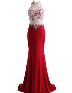 LovingDress Women's Prom Dresses Lace & Spandex High Neck Sheath Evening Dress in 3 colors