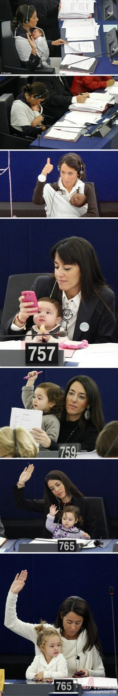 Licia Ronzulli, a Member of the European Parliament, and she brings her daughter to work everyday. - Imgur