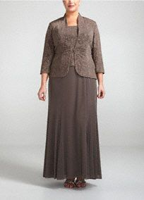 (Mother of the bride dress)Perfect for any special guest or Mother of the Bride, you will look and feel great in this stunning jacket dress!  Sleeveless bodice features long knit dress that is not only fabulous but comfortable.  Jacquard knit detailing is unique and eye-catching.  3/4 sleeve jacket adds just the right amount of coverage.  Fully lined. Back zip. Imported acetate/poly/spandex blend. Hand wash.