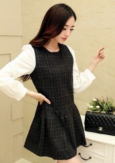 WOOL PLAID MINI DRESS Price : RM43 #yoloveitmy #yoloveitmalaysia #dress #mini #knitted #plain #simple #under50 #smart #casual