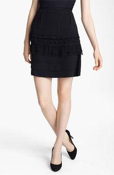 Nina Ricci Tiered Silk Crepe Black Skirt | Nordstrom