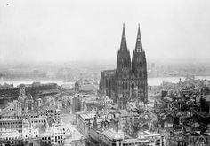Aerial oblique view of destroyed buildings in Cologne, Germany, caused by RAF Bomber Command raids on 9th March 1945. (Image, IWM - CL 2169)