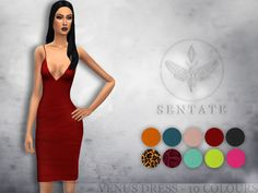 The ultimate 'Bombshell' dress. A sexy pencil dress with a plunging neckline and barely there straps. Comes in 10 colours.  Found in TSR Category 'Sims 4 Female Everyday'