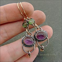 Strukova Elena - author's jewelry - earrings with amethyst and coil