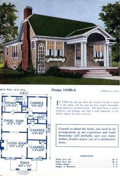 American home designs - Vintage house plans - Click Americana American Home Design, Different House Styles, Colonial Cottage, Old Home Remodel, Cottages And Bungalows, Vintage House Plans, Home Design Floor Plans, 1920s House, Retro Home