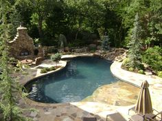 I want this pool and patio :)   Free-Form Pools - Blue Haven Pools and Spa