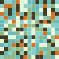 I'm thinking something like this glass tile in the shower surround to go with 60s blue tub.   Then rather than $$$ custom tile floors, buy a few extra sheets of this and cut the squares out and pop them in as random accent tiles in basic cheap white off-the-shelf ceramic mosaic tile from Home Depot.