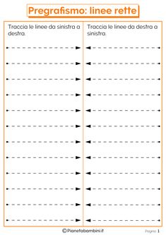 Schede di Pregrafismo di Percorsi con Linee Rette e Curve | PianetaBambini.it Motor Skills Activities, Writing Activities, Fine Motor Skills, Activities For Kids, Tracing Worksheets, Preschool Worksheets, Tracing Sheets, Pre Writing, Teaching