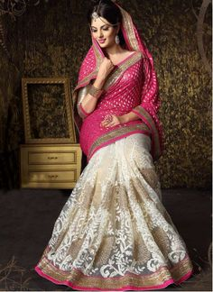 BEST SELLERS!!  Amazing White And Pink Viscose Half And Half Saree  Product Order Link http://www.maplefashions.com/sarees/amazing-white-and-pink-viscose-half-and-half-saree_12685#.VS9Gr9yUeSo  Call or Whatsapp : +919377152141 SHOP NOW!