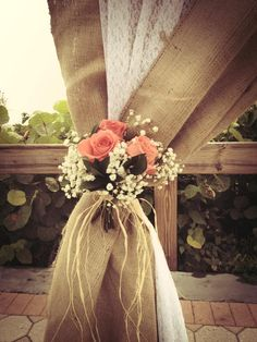 Burlap and Lace on a Birch Tree arbor. Great for rustic, vintage or country weddings.