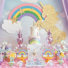 Pass out for this gorgeous unicorn birthday party! I love the dessert table ! 1 Year Old Birthday Party, Unicorn Themed Birthday Party, Unicorn Birthday Invitations, Birthday Party Tables, Rainbow Birthday, Unicorn Party, First Birthday Parties, Birthday Party Decorations, First Birthdays