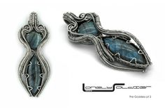'ISIS' 2 AAA Labradorite cabochons and sterling silver wire.