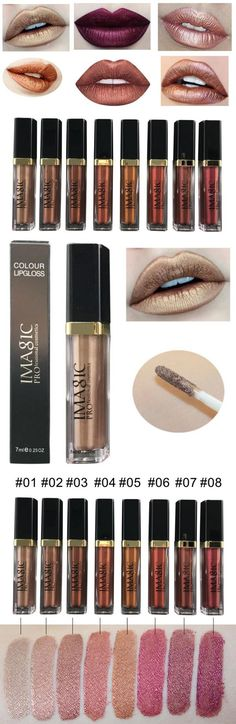 US$ 7.99 IMAGIC Metallic Lip Gloss Liquid Shimmer Matte Waterproof Long Lasting Nude Lipstick