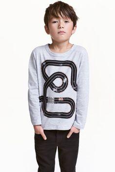 Shirt met lange mouwen - Lichtgrijs/autoweg - KINDEREN | H&M NL 1