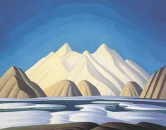 Ice House, Coldwell, Lake Superior, 1923 by Lawren Harris. Art Deco. landscape