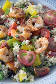Quinoa with shrimp, vegetables and herbs - yummy healthy recipee - BrendaKookt.nl