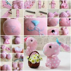 How to make sock bunny Diy Sock Toys, Sock Crafts, Bunny Crafts, Easter Crafts, Stuffed Animal Patterns, Diy Stuffed Animals, Sewing Tutorials, Sewing Projects, Sock Bunny