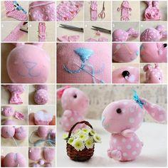 How to make sock bunny Sock Crafts, Fun Crafts, Stuffed Animal Patterns, Diy Stuffed Animals, Sock Bunny, Bunny Rabbit, Crochet Dog Patterns, Sock Toys, Sock Animals