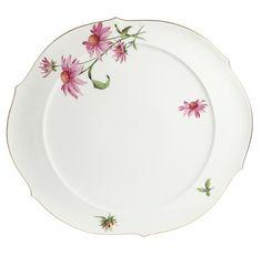 Cake platter, Flowerage, coloured, gold rim, ø 38,5 cm