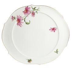 Cake platter, Flowerage, coloured, gold rim, ø 38,5 cm