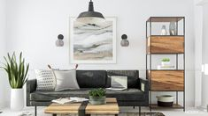Industrial Living Room Design: 14 Ways to Get the Loft Look Industrial Interior Design, Industrial Living, Industrial Interiors, Industrial Style, Orange Leather Sofas, Tufted Leather Sofa, Living Room Sofa, Living Rooms, Black Wall Sconce