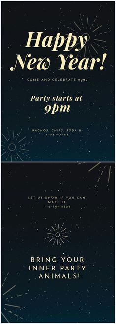 Grab this elegant New Year's Eve party invite template today, and shine as bright as the fireworks and glitter this year. You can easily edit any item with your own details. Don't forget to share your final design with us! Map Wedding Invitation, Housewarming Party Invitations, Invitation Layout, Bridal Shower Invitations, Invite, Pizza Wedding, Online Cards, New Years Eve Party, Animal Party