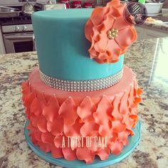 Turquoise and Coral Baby Shower Cake