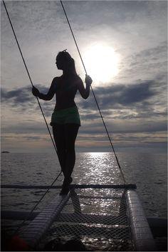sea. boat. sunset