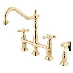 Kingston Brass KS127.AXBS Heritage Bridge Kitchen Faucet with Metal Cross Handle