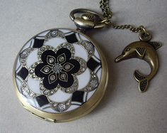 Grey enameld crstal  flower pattern Pocket watch by qizhouhuang, $4.50