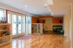 Basement Gym Design, Pictures, Remodel, Decor and Ideas - page 5 Basement Gym, Basement Bedrooms, Basement Renovations, Basement Ideas, Walkout Basement, Basement Inspiration, Playroom Ideas, Room Inspiration, Gray Basement