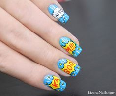 How to: Comic strip nail art manicure