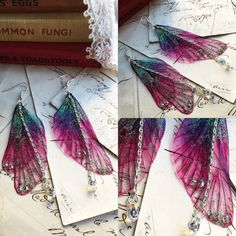 """NEW large pretty """"Pink Rainbow Faerie wing earrings"""""""