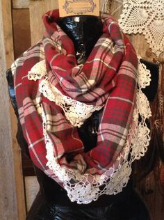Infinity Scarf Vintage Lace Plaid Flannel Navaho Cozy Warm bohemian boho chunky vintage lace (Oh I'm totally gonna make this.bc I can. Diy Clothing, Sewing Clothes, Tartan, Outfits Otoño, Plaid Flannel, Red Plaid, Flannel Shirt, Lace Scarf, Vintage Lace