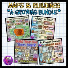 Map and Buildings in town clip art - A GROWING BUNDLE! This bundle includes ALL the map and buildings clip art in my store, including any new updates that may come in the future!