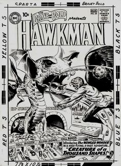 Brave and the Bold #34 Cover ' HISTORIC VERY FIRST SILVER AGE HAWKMAN COVER' (Large Art) 1960 Comic Art For Sale By Artist Joe Kubert at Rom...