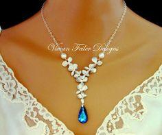Bridal Jewelry Set Peacock Blue Wedding Jewelry Orchid Pearl Jewellery | Vivian-Feiler-Designs - Jewelry on ArtFire