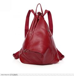 Fashional Burgundy Korean And Preppy Style Genuine Leather Backpack