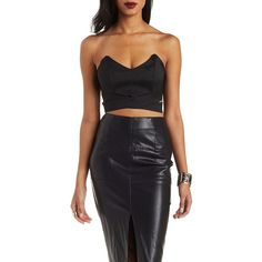 Charlotte Russe Black Sweetheart Neckline Cut-out Crop Top by... ($22) ❤ liked on Polyvore featuring tops, black, gold crop top, black cut out top, charlotte russe, crop top and cut out tops