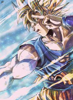 End of Z Goku Art by sumutemu_ : dbz Dragon Ball Gt, Dragon Z, Wallpaper Do Goku, Dragonball Wallpaper, Otaku, Fan Art, Animes Wallpapers, Ball Drawing, Anime Art