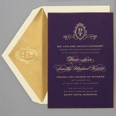 Formal Purple & Gold Monogram Invite - Ballroom | Wedding Invites & Stationery Photos | Brides.com