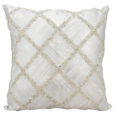 The Silver Beaded Diamonds Throw Pillow from Nourison is just what you need to create a tailored chic and eclectic space in your home. The gorgeous hue and luxe texture of this pillow make it a standout piece.