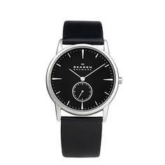 SKAGEN® Mens Mens Watches: Steel Matte Case & Black Dial Watch