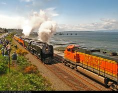 BNSF 5427 meets UP 844 and SP 4449 with the steam spectacular. Edmonds, Washington