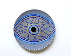 Evil Eye Decor  Decorative Plate  Golden Evil Eye   Golden