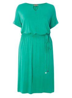 Womens DP Curve Plus Size Green Jersey Bar Midi Dress- Green