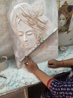 Clay Wall Art, Mural Wall Art, Mural Painting, Ceramic Painting, Clay Art, Ceramic Art, Murals, Tanjore Painting, Krishna Painting